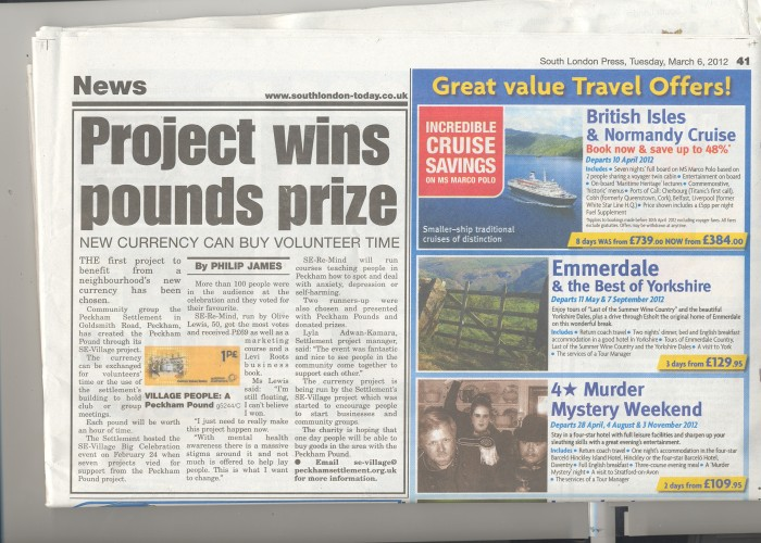 SE-Village Peckham Pounds, community celebration and crowdfunding makes the news